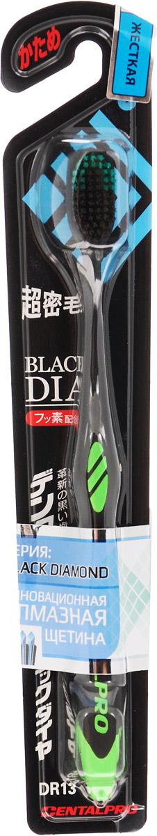 Dentalpro Black Diamond Щетка зубная с ультратонкой щетиной алмазной формы, жесткая, цвет: черный, зеленый