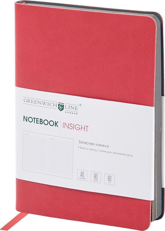 Greenwich Line Записная книжка Лайт Insight 80 листов в клетку цвет ярко-красныйAC-1121RDСтильная записная книжка с ярким цветным контрастным срезом и ультра-мягкой обложкой из 2 слоев высококачественного кожзаменителя. Внутренний блок из высокачественной тонированной офсетной бумаги повышенной плотности 80 0 г/м2, клетка, пантонная печать. Прошитый блок. Закладка-ляссе в цвет обложки. Индивидуальная упаковка. Подходит под персонализацию.