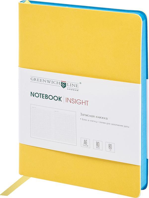 Greenwich Line Записная книжка Лайт Insight 80 листов в клетку цвет желтыйNA6CR-11233Стильная записная книжка с ярким цветным контрастным срезом и ультра-мягкой обложкой из 2 слоев высококачественного кожзаменителя. Внутренний блок из высокачественной тонированной офсетной бумаги повышенной плотности 80 0 г/м2, клетка, пантонная печать. Прошитый блок. Закладка-ляссе в цвет обложки. Индивидуальная упаковка. Подходит под персонализацию.