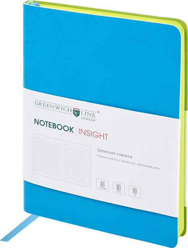 Greenwich Line Записная книжка Лайт Insight 80 листов в клетку цвет синийNA6CR-11237Стильная записная книжка с ярким цветным контрастным срезом и ультра-мягкой обложкой из 2 слоев высококачественного кожзаменителя. Внутренний блок из высокачественной тонированной офсетной бумаги повышенной плотности 80 0 г/м2, клетка, пантонная печать. Прошитый блок. Закладка-ляссе в цвет обложки. Индивидуальная упаковка. Подходит под персонализацию.