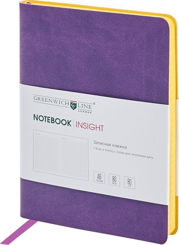 Greenwich Line Записная книжка Лайт Insight 80 листов в клетку цвет сиреневыйNA6CR-11241Стильная записная книжка с ярким цветным контрастным срезом и ультра-мягкой обложкой из 2 слоев высококачественного кожзаменителя. Внутренний блок из высокачественной тонированной офсетной бумаги повышенной плотности 80 0 г/м2, клетка, пантонная печать. Прошитый блок. Закладка-ляссе в цвет обложки. Индивидуальная упаковка. Подходит под персонализацию.
