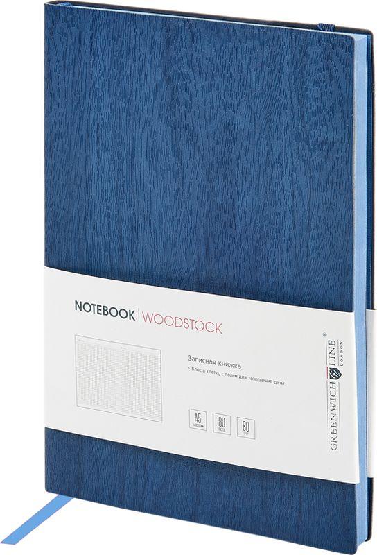 Greenwich Line Записная книжка Лайт Woodstock 80 листов в клетку цвет темно-синий формат A5NA5CR-11267Стильная записная книжка с цветным срезом и мягкой обложкой из высококачественного кожзаменителя с фактурой дерева. Внутренний блок из высокачественной тонированной офсетной бумаги повышенной плотности 80 0 г/м2, клетка, пантонная печать. Прошитый блок. Закладка-ляссе в цвет обложки. Индивидуальная упаковка. Подходит под персонализацию.