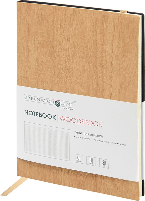 Greenwich Line Записная книжка Лайт Woodstock 80 листов в клетку цвет бежевый формат A6ENB6CR-11245Стильная записная книжка с цветным срезом и мягкой обложкой из высококачественного кожзаменителя с фактурой дерева. Внутренний блок из высокачественной тонированной офсетной бумаги повышенной плотности 80 0 г/м2, клетка, пантонная печать. Прошитый блок. Закладка-ляссе в цвет обложки. Индивидуальная упаковка. Подходит под персонализацию.
