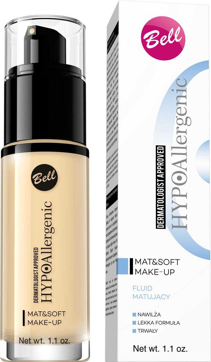 Bell Hypoallergenic Флюид матирующий гипоаллергенный Mat&soft Make-up, Тон №03, 30 мл