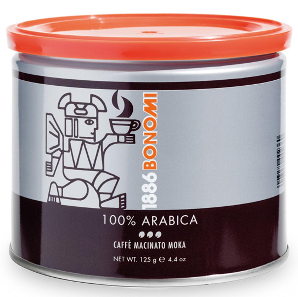 Bonomi 100% Arabica кофе молотый, 125 гCHLMSC-000003Сделано из лучших в мире сортов арабики, одна из старейших традиционных смесей Бономи. Обжарка темная, превосходный баланс горчинки и кислинки. Производство Италия.