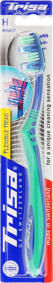 Trisa Зубная щетка Flexible Head, жесткая, цвет зеленый517437_зеленыйГибкая головка щетки регулирует ее давление на зубы и десны, оказывая щадящее воздействие. Особое расположение щетинок обеспечивает оптимальную чистку зубов и межзубных промежутков.Товар сертифицирован.