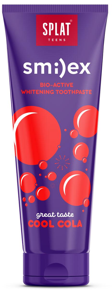 Splat Зубная паста детская Smilex Cool Cola Освежающая Кола 100 г1008-02-01Натуральная и эффективная отбеливающая зубная паста для подростков: для бережного осветления и укрепления эмали, свежести дыхания и эффективной защиты от кариеса по справедливой цене!Эффективные, 97 % натуральные и безопасные зубные пасты для подростков, которые освежают дыхание и придают белизну улыбке, укрепляют эмаль, защищают от кариеса, эффективно удаляя зубной налет.Натуральный фермент PAPAIN обеспечивает бережное очищение и осветление эмали зубов, а Лактат кальция способствует интенсивному укреплению эмали.Экстракт коры магнолии оказывает антибактериальное действие и снижает неприятный запах изо рта.Ионы цинка с натуральными маслами мяты, кожуры лимона и экстрактом коры магнолии обеспечивают мощный противовоспалительный и антибактериальныйэффекты и свежесть дыхания.Уникальная запатентованная система LUCTATOL на основе экстракта японского лакричника до 96% сокращает* образование зубного налета и уничтожает кариесогенные бактерии, способствуя защите от кариеса. *Эффективность доказана клинически.