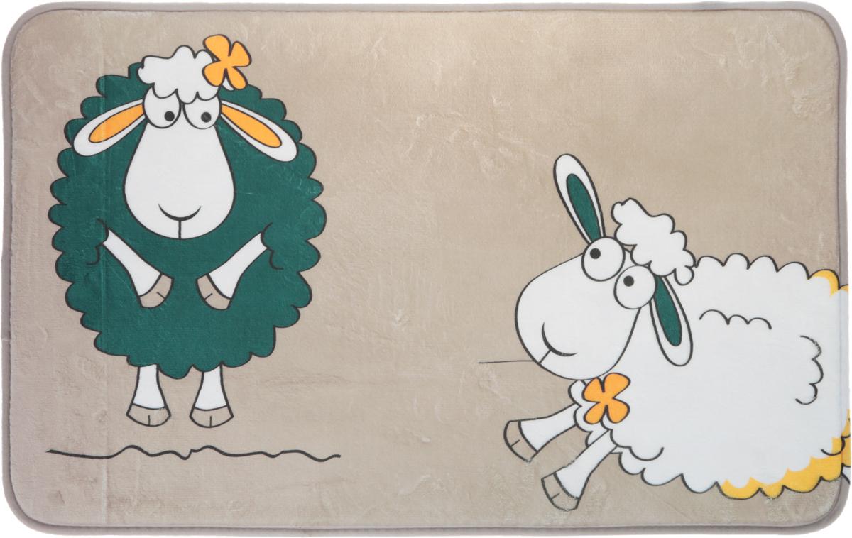 Коврик для ванной комнаты Tatkraft Funny Sheep, цвет: бежевый, зеленый, белый, 50 см х 80 см68/5/4Коврик для ванной комнаты Tatkraft Funny Sheep изготовлен из микрофибры Ultra Soft - мягкого, приятного на ощупь материала. Коврик отлично поглощает и впитывает влагу. Основание противоскользящее. Яркий красочный рисунок в виде забавных овечек внесет оригинальную нотку в интерьер ванной комнаты. Коврики Tatkraft - прекрасное решение для ванной комнаты.