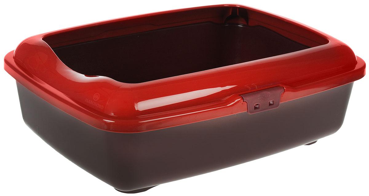 Туалет для кошек Marchioro  Goa , с бортом, цвет: бордовый, 48,5 х 36 х 16 см