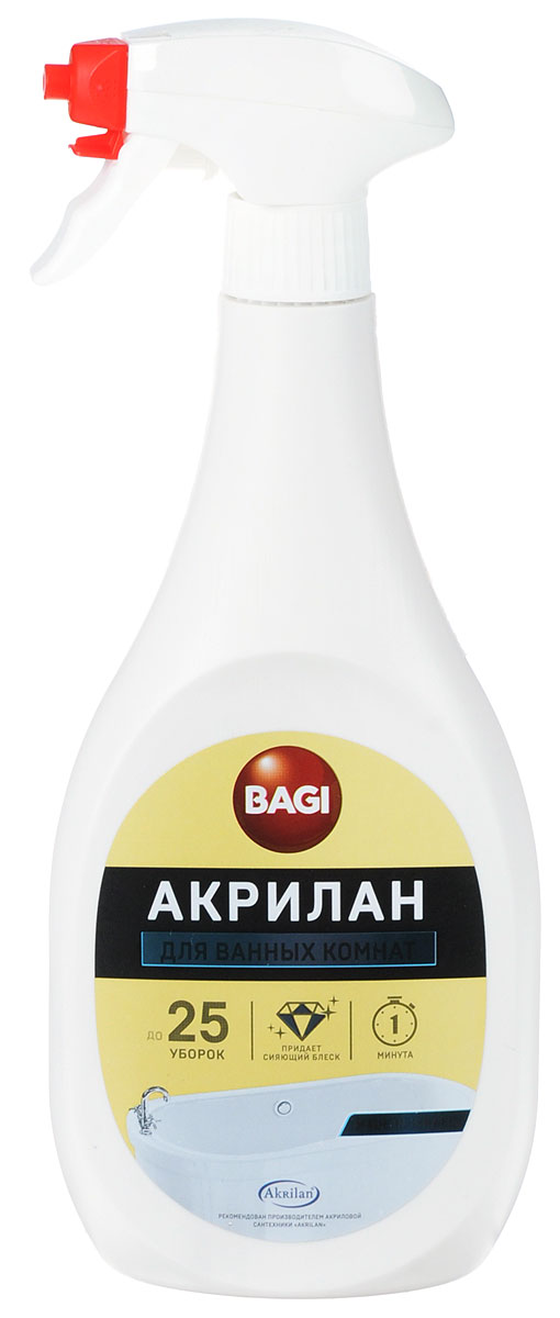 Средство для чистки и обновления эмалированных ванн Bagi Акрилан, 400 млB-208214-NСредство Bagi Акрилан - это эффективное средство для основательной чистки и обновления душевых кабин, акриловых ванн, джакузи, бассейнов, применим для эмалированных ванн, раковин и керамики. Удаляет грязь, остатки мыла, известковый налет, ржавчину, застарелые пятна, плесень и грибок. Обновляет поверхность и придает ей блеск на долгое время. Предохраняет от образования известкового налета.Способ применения: нанести средство напрямую из пульверизатора или с помощью губки или тряпки, смоченной в воде, потереть и смыть водой.Меры предосторожности: препарат не годится для употребления в пищу. Хранить в недосягаемом для детей месте. В случае попадания в глаза, немедленно промыть проточной водой. Если вы проглотили средство, необходимо выпить воды и обратиться к врачу. Рекомендуется одевать перчатки при использовании средства. Не давать средству засохнуть до окончания чистки. Нельзя смешивать средство с другими средствами для мытья, кроме воды. Состав: специальные поверхностно-активные вещества с допустимым содержанием лимонной кислоты, ароматизатор.Товар сертифицирован.Уважаемые клиенты! Обращаем ваше внимание на возможные изменения в дизайне упаковки. Качественные характеристики товара остаются неизменными. Поставка осуществляется в зависимости от наличия на складе.