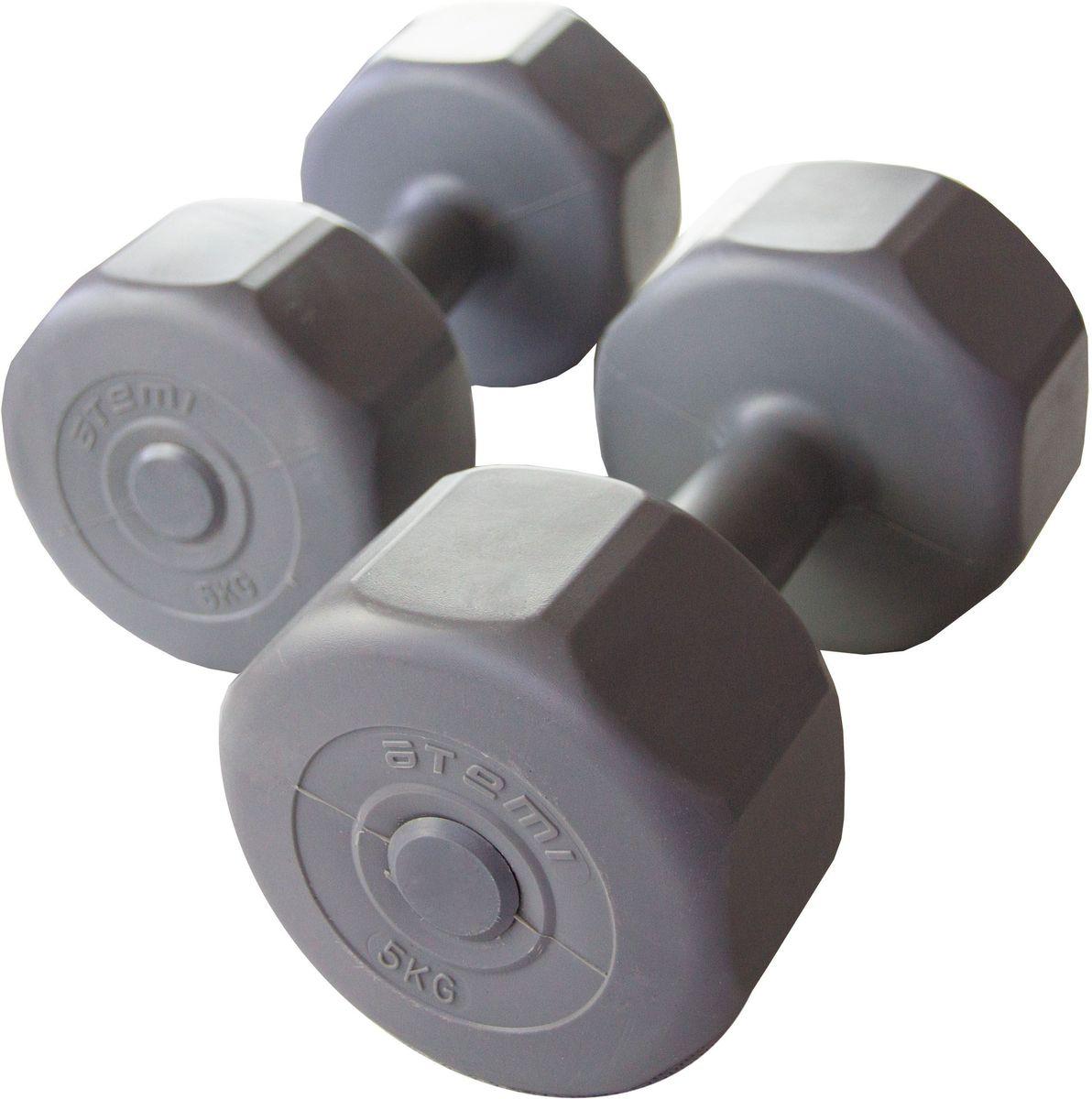 Гантели Atemi, виниловые, 5 кг х 2 шт.AD-02-10Гантели специальной формы против качения. Идеально подходят для домашних тренировок.