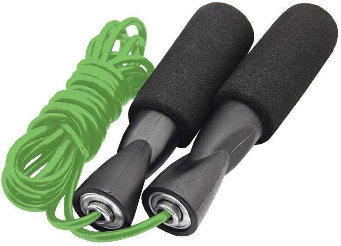 Скакалка на подшипниках Atemi, цвет: зеленыйУТ-00010042Скакалка с подшипниками подойдет для занятий фитнесом, разогрева перед тренировками и сжигания лишних калорий. Ручки скакалки покрыты неопреном, препятствующимскольжению рукии впитывающим выделяемую влагу, делая, таким образом, упражнения со скакалкой более приятными и безопасными. Металические подшипники в ручках скакалки предотвращают запутывание веревки и увеличивают срок ее эксплуатации. Быстрая регулировка под себя без использования инструментов.