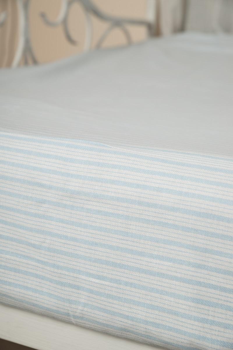 Простыня-наматрасник Гаврилов-Ямский Лен, на резинке, цвет: белый, голубой, 90 х 200 см. 90216051Простыня на резинке из плотного натурального хлопка. Может использоваться как наматрасник.