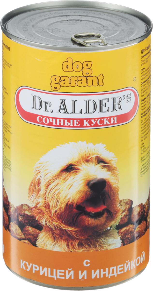 Консервы Dr. Alders Dog Garant для взрослых собак, курица и индейка, 1,23 кг0120710Полнорационный сбалансированный корм Dr. Alders Dog Garant предназначен специально для взрослых собак и идеально подойдет как для ежедневного кормления в чистом виде, так и для добавок к кашам, супам и сухим кормам. Он гарантирует вашему питомцу здоровье и хорошее настроение каждый день. Корм не содержит красителей, консервантов и усилителей вкуса. Товар сертифицирован.