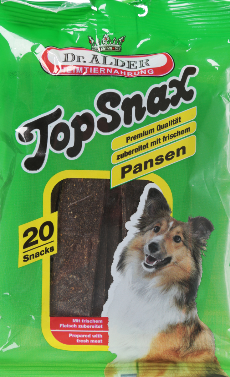 Лакомство для собак Dr. Alders B2. TopSnax, рубец, 20 шт101246Dr. Alders B2. TopSnax - это натуральный продукт. Он не содержит сою и ГМО, только натуральные разрешенные в ЕЭС красители, ароматические и консервирующие вещества. Отличный вариант для поощрения для выставок, прогулок и дрессировки.Товар сертифицирован.