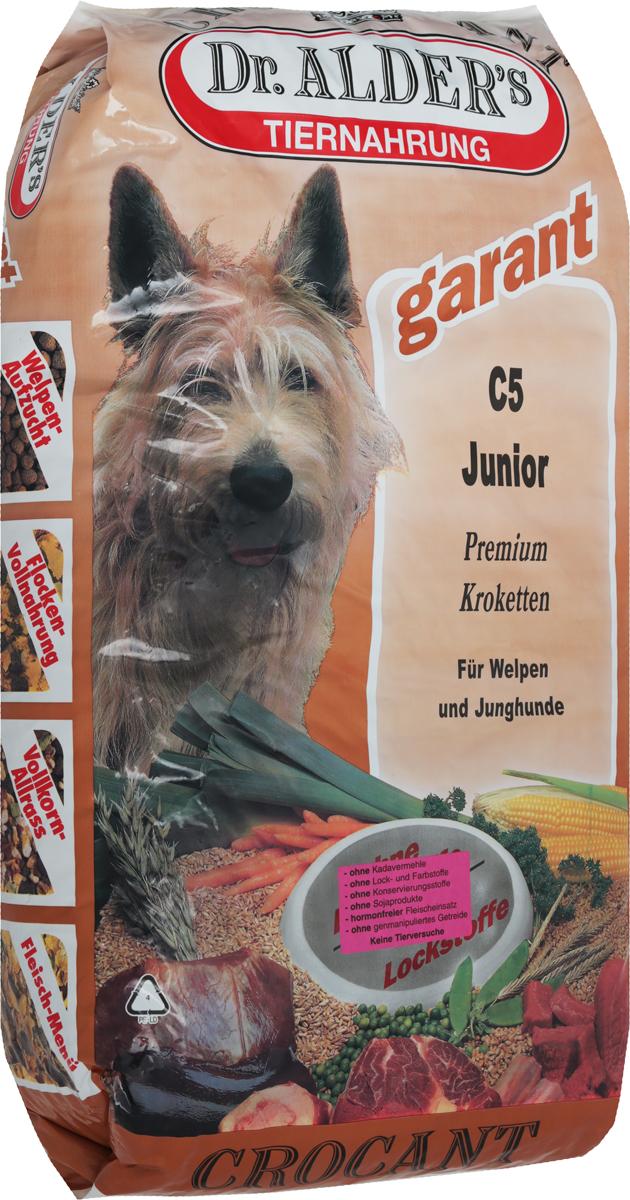Корм сухой Dr. Alders С5. Джуниор для щенков и молодых собак, 18 кг0120710Комплексный, сбалансированный, высококалорийный корм Dr. Alders С5. Джуниор предназначен для щенков (старше 4 недель) и молодых собак. Для беременных и кормящих сук рекомендуется как высококалорийное и легкоусваиваемое питание.Корм способствует: Оптимальному росту и развитию щенков.Укреплению иммунной системы.Увеличению секреции молока в период лактации и кормления.Быстрому восстановлению сил в послеродовой период.Товар сертифицирован.