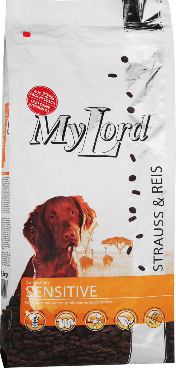 Корм сухой Dr. Alders My Lord для взрослых собак, страус с рисом, 12,5 кг1151Dr. Alders My Lord - это высококачественный полноценный рацион суперпремиум класса для собак. Особенно подходит собакам с пищевой аллергией, у которых наблюдается непереносимость различных видов животного белка, например, при употреблении говядины, свинины, курятины или рыбы, а также растительных компонентов, например, глютена. Корм содержит только один источник животного белка, а именно - мясо африканского страуса. Используемые виды злаков не содержат глютена, обладают высокой усвояемостью, не содержат ГМО. В этот корм не добавляется витамин К, так как используемое растительное сырье содержит достаточное количество натурального витамина К. Сбалансированное соотношение Омега-3 и Омега-6-жирных кислот благотворно влияет на кожу животных и их шерсть, придавая ей блеск, а L-карнитин положительно влияет на жировой обмен. Корм идеален при проблемах с кожей и шерстью и не вызывает аллергии. Товар сертифицирован.