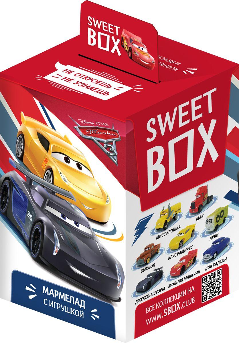 В каждой коробочке коллекционная 3Д - игрушка Тачки + мармелад.