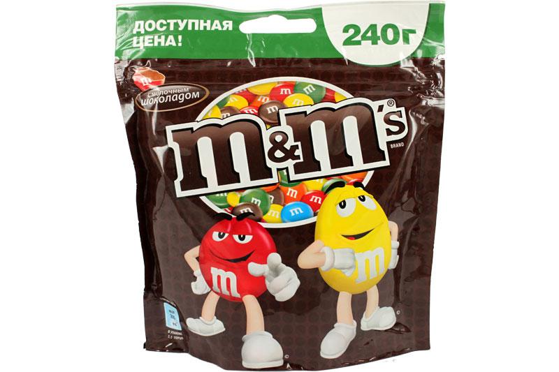 M&Ms Драже молочный шоколад, 240 г5060295130016Драже M&Ms с шоколадом - это больше веселых моментов для тебя и твоих друзей! Разноцветные драже можно съесть самому или разделить с друзьями. В любом случае, вкус отличного молочного шоколада подарит тебе удовольствие и радость.Уважаемые клиенты! Обращаем ваше внимание на то, что упаковка может иметь несколько видов дизайна. Поставка осуществляется в зависимости от наличия на складе.