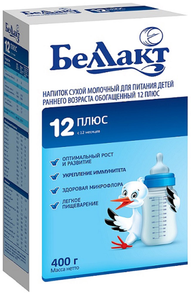 Беллакт Плюс смесь молочная сухая с 12 месяцев, 400 г2995Напиток сухой молочный для питания детей раннего возраста обогащенный 12 Плюс.