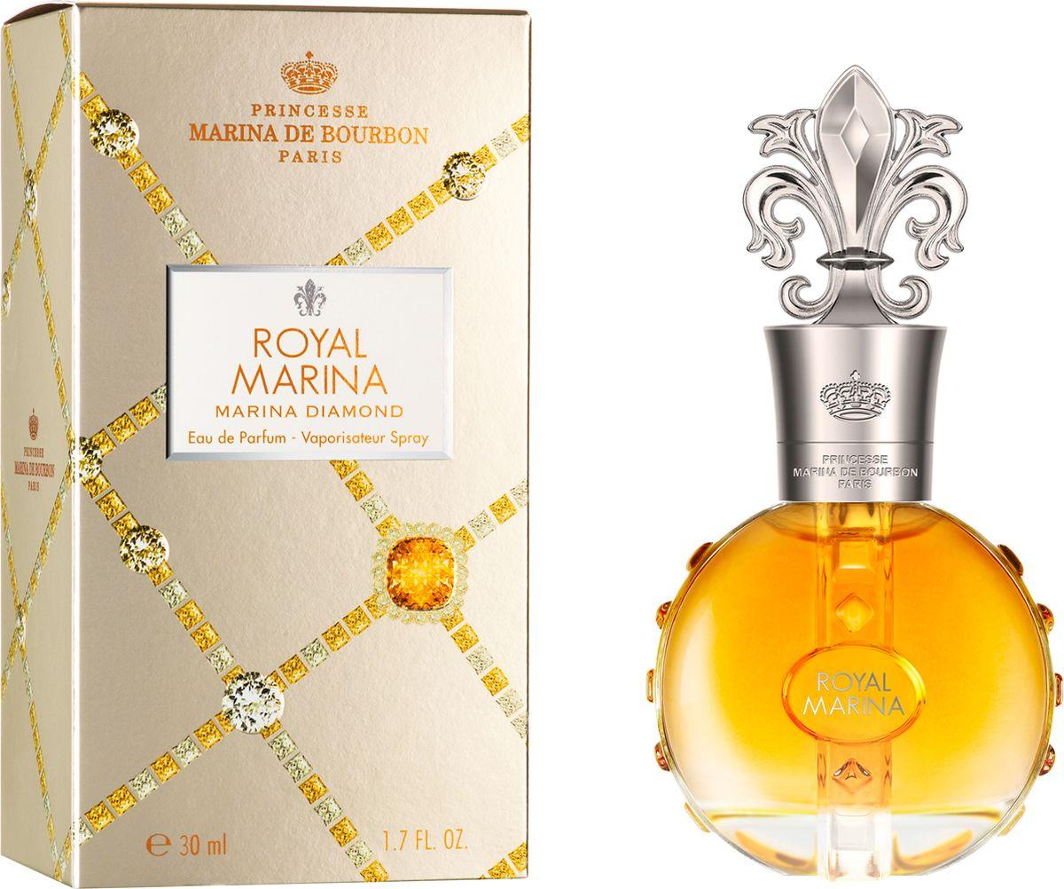 Princesse Marina De Bourbon Paris Royal Marina - Marina Diamond Парфюмерная вода 30 мл191122ФЛАКОН: Ценный и роскошный флакон инкрустирован драгоценными ограненными камнями. Блеск сверкающего алмаза усиливается впечатляющей крышкой в виде геральдической лилии и с подписью Royal Marina. Золотая, статусная упаковка, рельефно украшенная драгоценными камнями, хранит внутри настоящее сокровище. АРОМАТ: Oбволакивающий, чувственный и теплый Royal Marina Diamond - это захватывающий аромат для гламурной и блистательной женщины, которая стремится произвести незабываемое впечатление и продемонстрировать свой страстный темперамент. Это чувственный и страстный парфюм; радостная сочность Брусники выделяет аромат лепестков Ириса и Жасмина. Изысканные цветочные ноты в центре окутаны экзотической чувственностью дерева Copaiba, в то же время прикосновение ванили и плодов мускуса подчеркивает остроту этого аромата. Oлнечный золотисто-янтарный оттенок просматривается сквозь изящное стекло, околдовывая видом сладкого нектара.