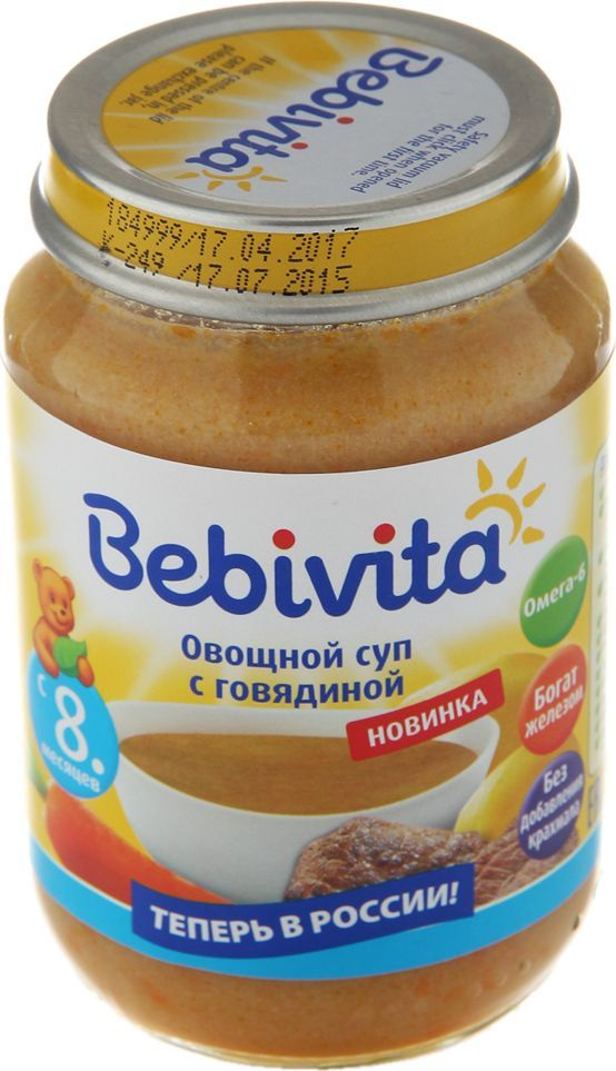 Пюре Bebivita (Бэбивита) Овощной суп с говядиной с 8 мес. 190/гПюре Bebivita Овощной суп с говядиной - это растительно-мясные консервы, обогащённые полезными для малыша микроэлементами, такими как железо, йод и жирные кислоты Омега-6. Они предназначены для питания малышей с 8 месяцев, имеют пюреобразную структуру, дополненную небольшими кусочками для развития жевательных навыков. Особое сочетание самых свежих и полезных продуктов обеспечивает приятный вкус, который обязательно понравится малышу.