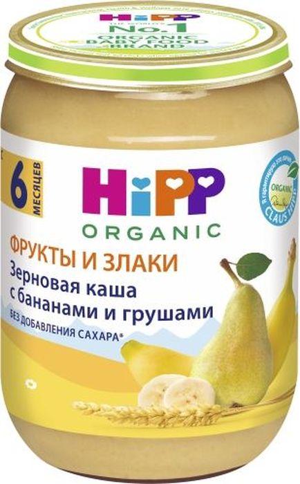 Hipp каша зерновая с бананами и грушами, с 6 месяцев, 190 г1093Пюре Hipp Банановое пюре с зерновыми хлопьями - это пюре с пшеницей, овсянкой и бананом. Пшеничная каша из цельного зерна богата цинком, серебром, она содержит много растительного белка, источник витаминов А, D, группы В и ненасыщенных жирных кислот. Каша из горсти пшеницы даст заряд бодрости на целый день. Овсянка не только содержит массу витаминов и минеральных веществ, незаменимых как для детского растущего организма, но и отличается высоким содержанием витамина Е и группы В, так же богата калием, фосфором, магнием, железом. Самым ценным свойством овсянки для современного человека является то, что она способна выводить токсины из организма. Банан - источник калия, который необходим для работы сердца, сокращения мышц, деятельности нервной системы, а также для обмена веществ. Один банан компенсирует дневную потребность человека в калии и магнии. Волокна, которые содержат бананы, способствуют хорошей усвояемости сахара и жиров. Кроме того, тропические плоды являются источником железа и фосфора.