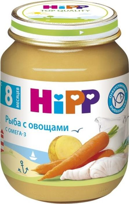 Hipp пюре рыба с овощами, с 8 месяцев, 125 г9062300122623Пюре Hipp Рыба с овощами - нежное овощное пюре с добавлением рыбы, обогащенное йодированной солью, которая является необходимым элементом для правильной работы щитовидной железы, полностью готовое к употреблению. Такое пюре идеально подойдет для первого знакомства вашего малыша с рыбными блюдами. Благодаря удобной упаковке, в которую разливается пюре, этот продукт всегда удобно взять с собой на прогулку или в путешествие. Пюре подойдет для кормления через соску из бутылочки, из чашки или с ложки. Пюре состоит из экологически чистых продуктов, не содержит консервантов, искусственных красителей и нитратов.