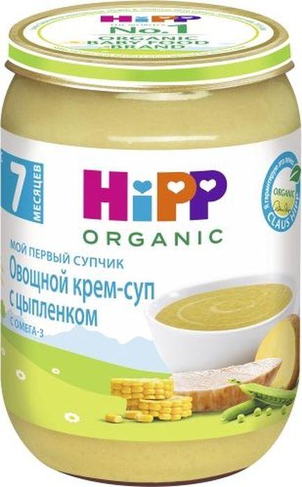 """Пюре Hipp Овощной крем-суп с цыплёнком. Прекрасные вкусовые качества органического крем-супа дополнены полезными свойствами. Мясо цыпленка является ценным источником белка, а кукуруза обогащена питательным каратином и клетчаткой. """"Мой первый супчик"""" Hipp – это полноценный обед для малыша!"""