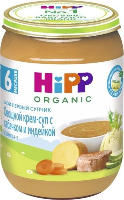 """Пюре Hipp (Хипп) Овощной крем-суп с кабачком и индейкой с 6 мес. 190/г Пюре от торговой марки """"Hipp"""" изготовлено специально для питания детей. Мясо птицы содержит много белка и микроэлементов, необходимых для роста и развития ребенка. Индейка малокалорийна и очень питательна. Железо из мяса индейки легко усваивается, что является прекрасной профилактикой железодефицитной анемии у детей. Кабачок быстро усваиваются желудком, обладает общеукрепляющими свойствами, выводит из организма соли натрия и излишки холестерина. Суп полностью изготовлен из органических продуктов, выращенных специально для детского питания. Овощной крем-суп с кабачком и индейкой станет любимым блюдом вашего крохи и даст ему энергию расти и познавать мир!"""