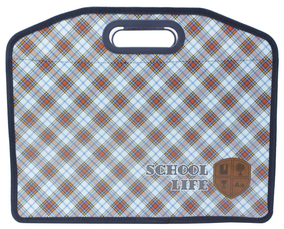 Феникс+ Папка для тетрадей школьная Шотландка43592Папка для тетрадей пластиковая. Закрывается на молнию.Формат: А4 (340х250 мм).Текстильные ручки.