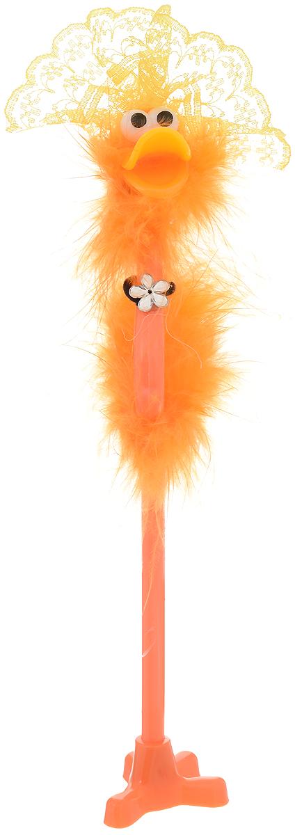 Flamingo Ручка-игрушка с подставкой цвет корпуса оранжевый желтый4864Забавная шариковая ручка-игрушка Flamingo станет отличным подарком и незаменимым аксессуаром на вашем рабочем столе.Ручка, украшенная перьями, выполнена в виде забавной птички фламинго с желтой шляпкой на голове. К ручке прилагается подставка в виде лапки.Такая ручка - это забавный и практичный подарок, она не потеряется среди бумаг и вызовет улыбку окружающих.