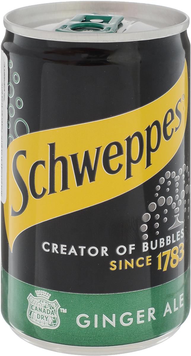 Schweppes Ginger Ale напиток газированный, 150 мл0120710Напиток из имбиря с добавлением лайма и лимона. Привезен из США, штат Техас. Появился в 1890 году. Как и многие напитки своего времени, Canada Dry был создан молодым фармацевтом из Канады. Напиток получился настолько изысканным, что зачастую поставлялся на королевские дворы. Идеально подходит для изготовления коктейля мохито: как алкогольного, так и безалкогольного.