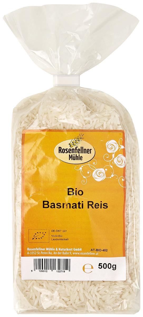 Rosenfellner Muhle органический рис басмати, 500 г310100Рис Басмати - продукт контролируемого органического земледелия. Басмати лучшая крупа с низким гликемическим индексом и совсем не содержит холестерина. Блюда из такого риса имеют отменный вкус, за что его очень любят многие хозяйки.