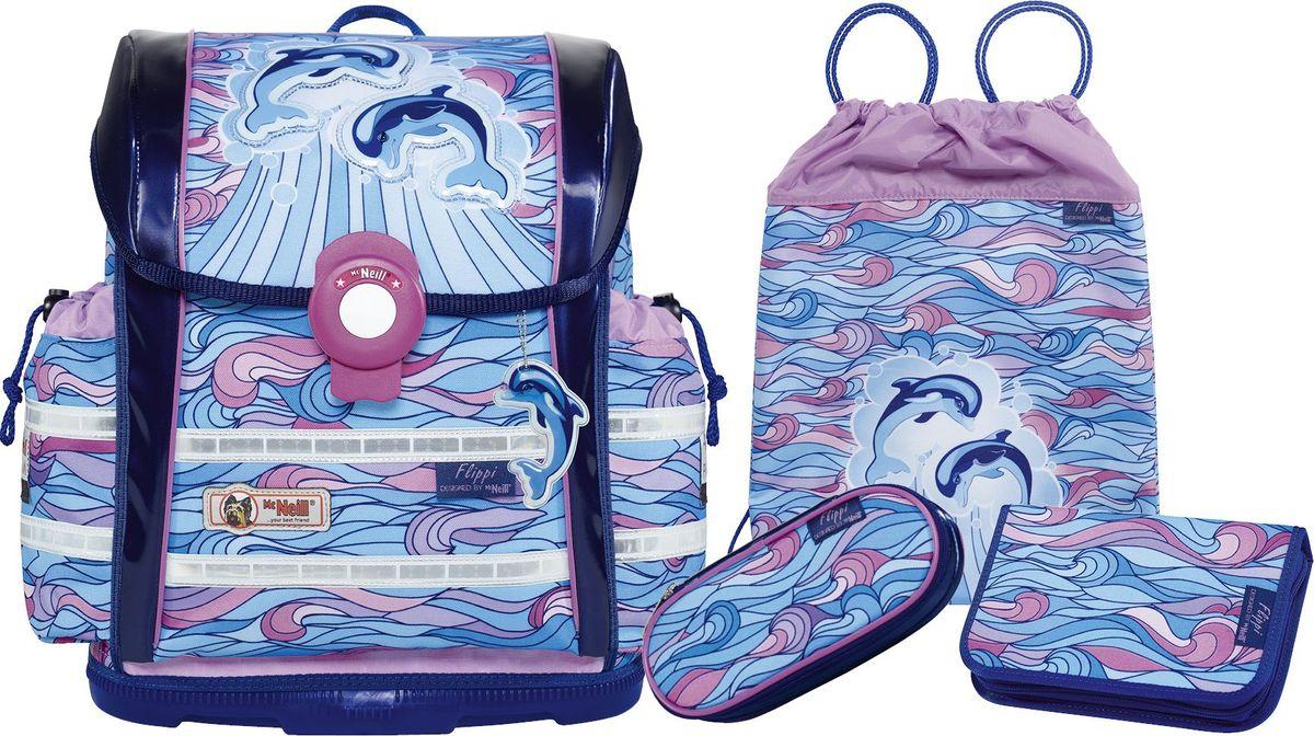 Thorka Ранец школьный MC Neill Ergo Light 912 S Дельфины с наполнением 3 предмета730396Вместимость 18,5 л, вес ранца 900 гр, удобный магнитный замок, боковые карманы на кулиске регулируются ограничителями, дно из особо прочного пластика, ортопедическая спина, регулируемые ремни на мягких подушках. В наборе два пенала, сумка для обуви и спорта, бутылочка для напитков, ланч - бокс. 34*37*20 см