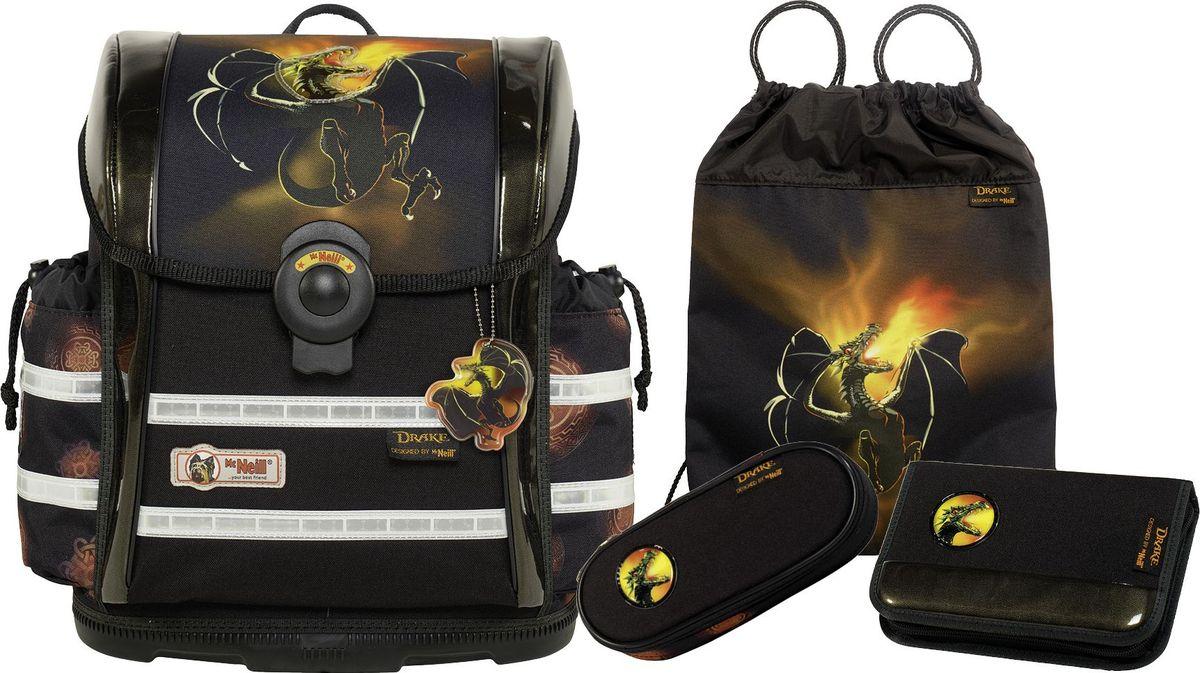 Thorka Ранец школьный MC Neill Ergo Light 912 S Дракон с наполнением 3 предмета9613177000Вместимость 18,5 л, вес ранца 900 гр, удобный магнитный замок, боковые карманы на кулиске регулируются ограничителями, дно из особо прочного пластика, ортопедическая спина, регулируемые ремни на мягких подушках. В наборе два пенала, сумка для обуви и спорта, бутылочка для напитков, ланч - бокс. 34*37*20 см