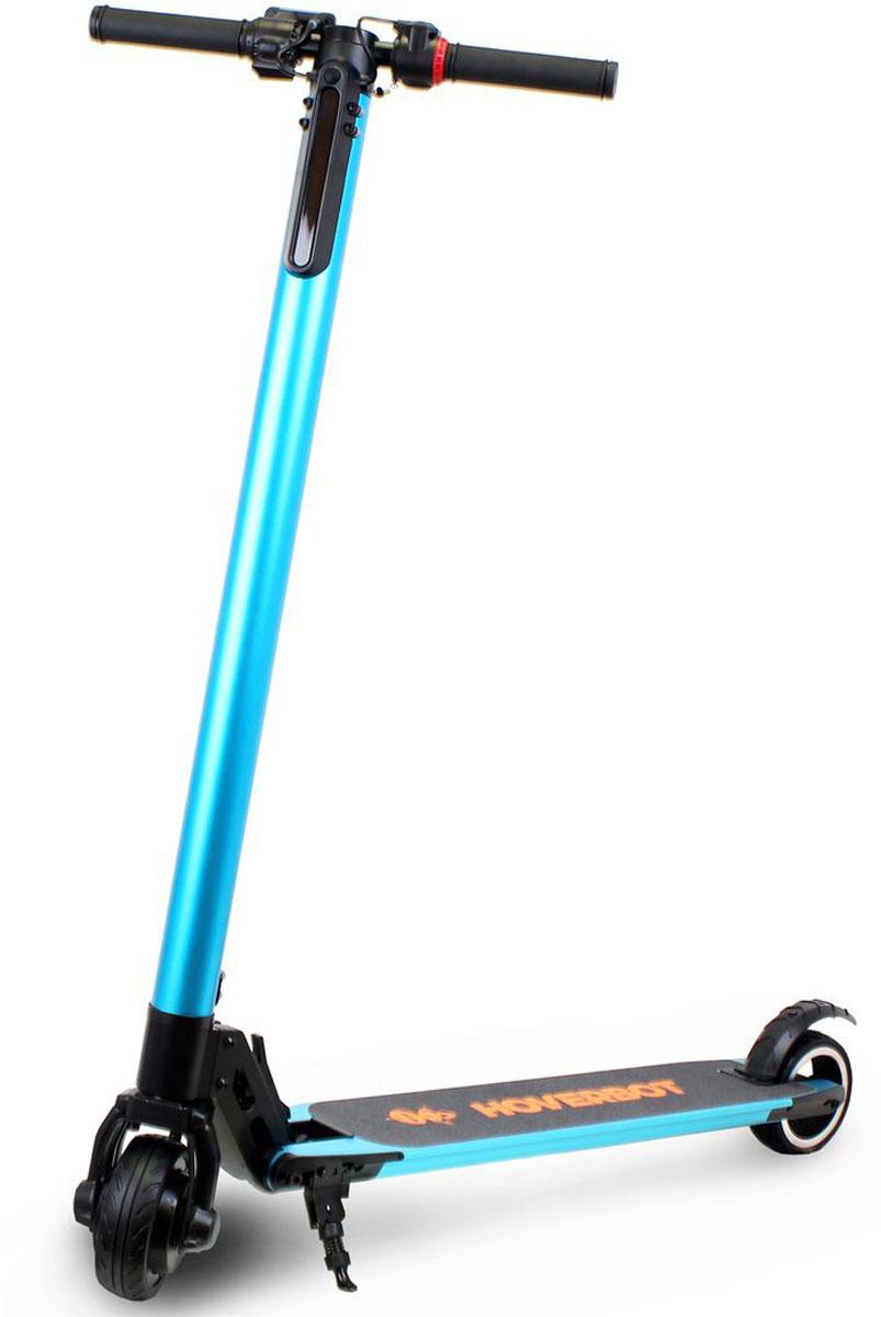 """Электросамокат Hoverbot, цвет: синийEF6BEЭлектросамокат Hoverbot F-6 это уникальное устройство в ассортименте компании Hoverbot. Он преодолевает на одном заряде батареи до 35 км с максимальной скоростью до 25 км/ч. Это стало возможным за счет облегченного, но очень прочного корпуса, который выполнен из алюминия, с использованием при сборке компьютеризированной сварки деталей, и весит всего 6,3 килограмма. Мощный 3-х скоростной 250-ти W мотор плавно разгоняется и выдерживает максимальную нагрузку до 100-120 кг. 5"""" колеса пригодны для городских условий, прекрасно преодолевают небольшие асфальтовые неровности. Шероховатая платформа для ног дает полную уверенность и контроль равновесие при езде. Электронные тормоза чутко реагируют на нажим, у них высокий отклик датчиков. Увеличение скорости и торможение осуществляется рычагами на ручках самоката. Имеется электронный дисплей, на котором отображается скорость и пробег. Так же на дисплее есть кнопки переключения скоростей. Для комфортного перемещения ночью электросамокат оснащен фонарем. Надежность и уверенность во всем это именно то, что присуще электросамокату Hoverbot F-6."""