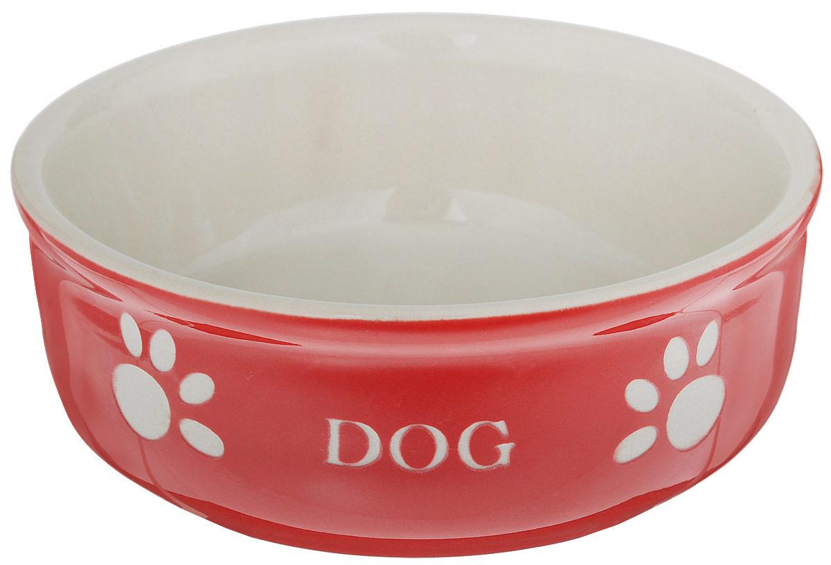 Миска для собак Nobby Dog, цвет: красный, светло-бежевый, 240 мл5612071Миска для собак Nobby Dog выполнена из керамики, покрытой глазурью. Внешние стенки дополнены рельефными рисунками и надписями. Миска достаточно тяжелая, поэтому не будет скользить по полу. Отлично подойдет для собак мелких пород. Диаметр миски: 13,5 см. Высота миски: 5 см.