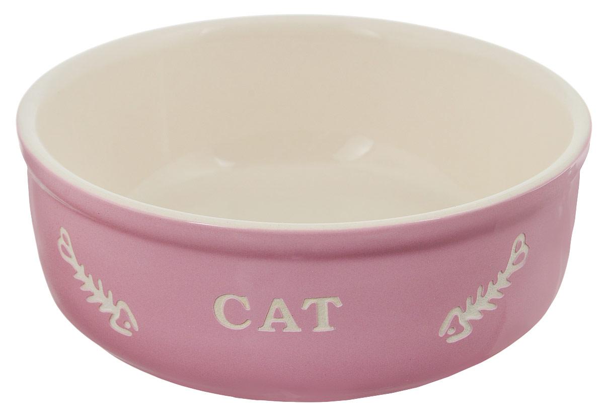Миска для кошек Nobby Cat, цвет: розовый, светло-бежевый, 240 мл73366Миска для кошек Nobby Cat выполнена из керамики, покрытой глазурью. Внешние стенки дополнены рельефными рисунками и надписями. Миска достаточно тяжелая, поэтому не будет скользить по полу. Диаметр миски: 13,5 см. Высота миски: 5 см.