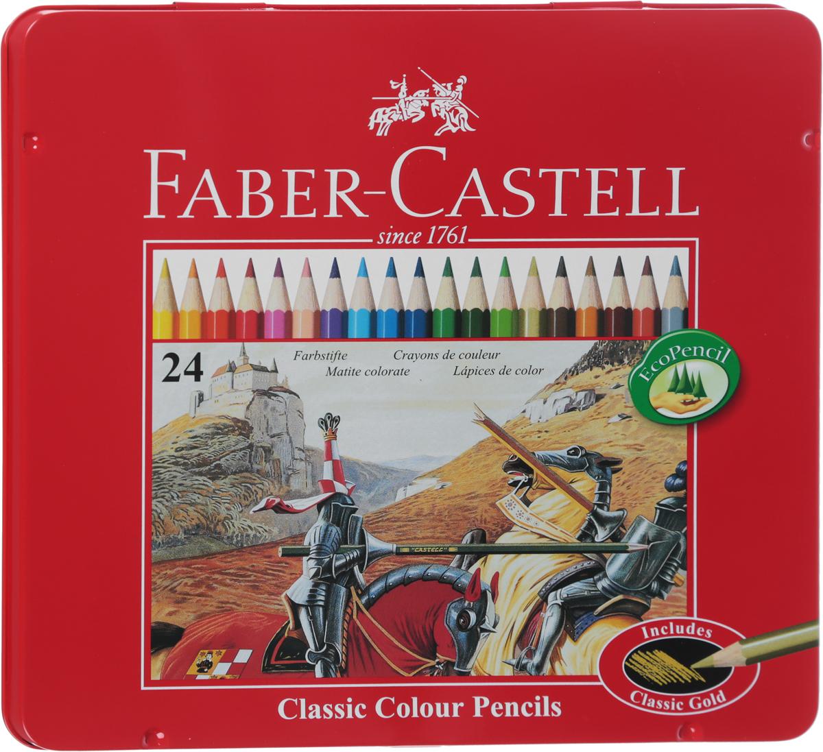 Faber-Castell Набор цветных карандашей Рыцарь 24 цвета730396В наборе Faber-Castell 24 цветных шестигранных карандаша, не требующих сильного нажатия. Карандаши обладают яркими цветами, безопасны при использовании по назначению, легко затачиваются, изготовлены из высококачественной древесины, имеют прочный грифель.