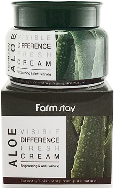 FarmStay Увлажняющий крем с алоэ, 100 г8809430539003Крем с нежной текстурой и легким освежающим ароматом – отличное средство для кожи любого типа, но особенно рекомендуется для сухой, раздраженной, чувствительной кожи. В составе крема экстракт алоэ вера, который проникает в самые глубокие слои кожи и наполняет ее влагой изнутри, а также создает на поверхности защитную пленку, оберегающую от обезвоживания, не мешая при этом кислороду поступать в клетки кожи. Алоэ вера – универсальный компонент, очень популярный в корейской косметике: оказывает увлажняющее действие (важно для сухой кожи), регулирует деятельность сальных желез, сужает поры жирной и комбинированной кожи, успокаивает чувствительную кожу. Также экстракт алоэ омолаживает зрелую кожу, так как стимулирует обмен веществ, улучшает кровообращение, регулирует метаболические процессы, способствует образованию коллагена и эластина. Для кожи нормального типа алоэ вера служит надежной профилактикой и способствует поддержанию здоровья, красоты и молодости. Кроме того, алоэ растворяет клейкое вещество, которое склеивает отмершие клетки кожи между собой, способствует их отшелушиванию, поэтому применение геля с алоэ вера предупреждает появление серого цвета лица и неровного рельефа кожи из-за скопления отмерших клеток. Мгновенно увлажняя и освежая кожу, крем устраняет сухость и шелушения, снимает зуд и раздражения. Незаменимо средство после солнечных ожогов – успокоит и охладит кожу, снимет боль и уменьшит покраснения.