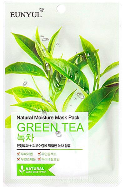 Eunyul Маска с зеленым чаем, 22 г8809435402111Экстракт зеленого чая увлажняет кожу, оказывает противовоспалительное действие, ускоряет заживление раздражений, устраняет покраснения, сужает поры и регулирует деятельность сальных желез, улучшает цвет лица. Благодаря кофеину, содержащемуся в зеленом чае, повышается эластичность капилляров, улучшается кровообращение, повышается упругость кожи, разглаживаются морщины.