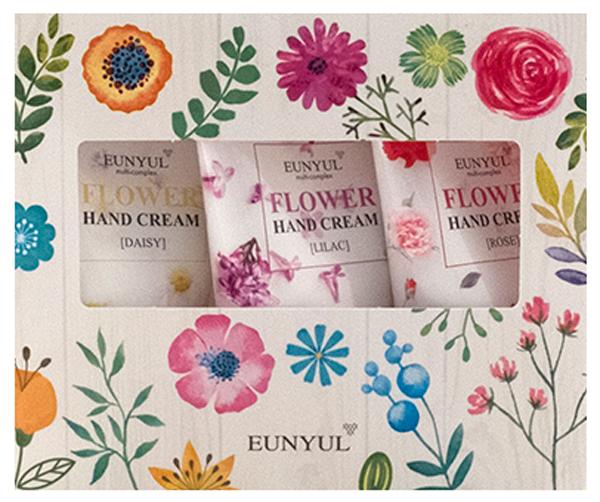 Eunyul Набор из трех кремов для рук65500409Набор из замечательных кремов для рук с цветочными экстрактами станет превосходным подарком для вас и ваших близких, с успехом заменив собой букет цветов. Крема дарят вашим рукам нежный аромат и бережный уход, защищают от неблагоприятного воздействия окружающей среды и бытовой химии. Роза, ромашка и сирень – очень разные цветы, которые редко повстречаешь в одном букете, и которые обладают своими уникальными полезными свойствами. Легкий ненавязчивый аромат цветов поднимет настроение и будет радовать каждый день. Крем обладает легкой текстурой, быстро впитывается, дарит коже мягкость, гладкость и шелковистость. Создайте праздничное настроение с набором цветочных кремов от Eunyul.