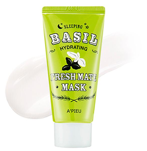 APieu Увлажняющая маска с экстрактом базилика и баобаба, 50 мл8806185733397Экстраувлажняющая и освежающая ночная маска с экстрактом базилика и баобаба APieu Fresh Mate Basil Hydrating Sleeping Mask содержит ряд сильнейших природных влагоудерживающих компонентов - экстракт базилика, экстракт баобаба, экстракт семян хлопка, экстракт зеленого чая, экстракт бамбука, экстракт лотоса. Экстракт базилика в составе маски увлажняет, выводит токсины из кожи, тонизирует кожу и разглаживает мелкие морщинки, восстанавливает нарушенный липидный барьер кожи, повышает эластичность кожи, помогает против мимических морщин. Экстракт баобаба восстанавливает эластичность и упругость кожи, увлажняет и питает ее. Экстракт семян хлопка дарит коже мягкость и эластичность. Экстракт лотоса придает коже упругость, стимулирует процессы регенерации клеток кожи, способствует восстановлению эластичности кожного покрова.