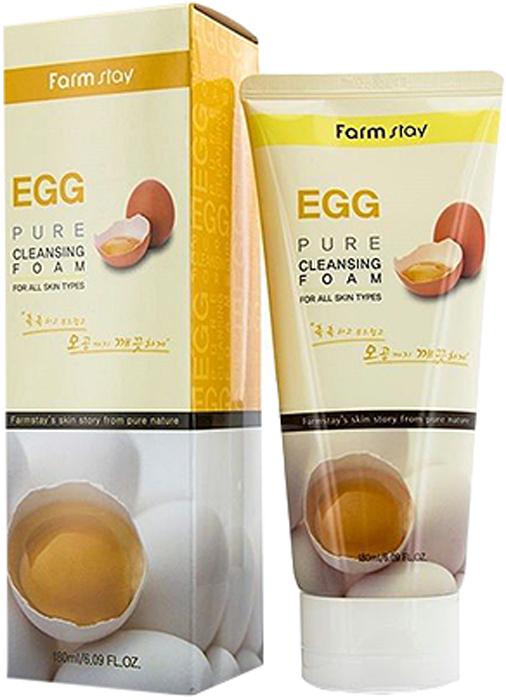 FarmStay Пенка очищающая с яичным экстрактом, 180 млAC-2233_серыйЯичная пенка для умывания мягко очищает и освежает кожу, очищает поры и улучшает цвет лица. Яичный белок, как вяжущее, стягивающее поры и подсушивающее средство, идеально подходит для ухода за жирной кожей, так как устраняет жирный блеск. Кроме того, белок прекрасно очищает поры любой кожи лица: жирной, сухой, молодой и зрелой. Желток чаще всего используется для сухой или дряблой кожи, а также для питания и увлажнения любой кожи лица и тела. Лецитин, входящий в состав желтка, способствует проникновению глубоко в кожу питательных веществ, хорошо тонизирует и смягчает её, а также восстанавливает защитные функции кожи. • Питательная пенка для умывания• Создает густую пену, которая мягко удаляет макияж и загрязнения• Насыщена экстрактом яичного желтка для питания кожи• Обладает стягивающим эффектом и сужает поры• Сокращает выработку кожного жира• Восстанавливает защитные функции кожи• Делает кожу мягкой, чистой, увлажненной и свежей• Подходит для всех типов кожи