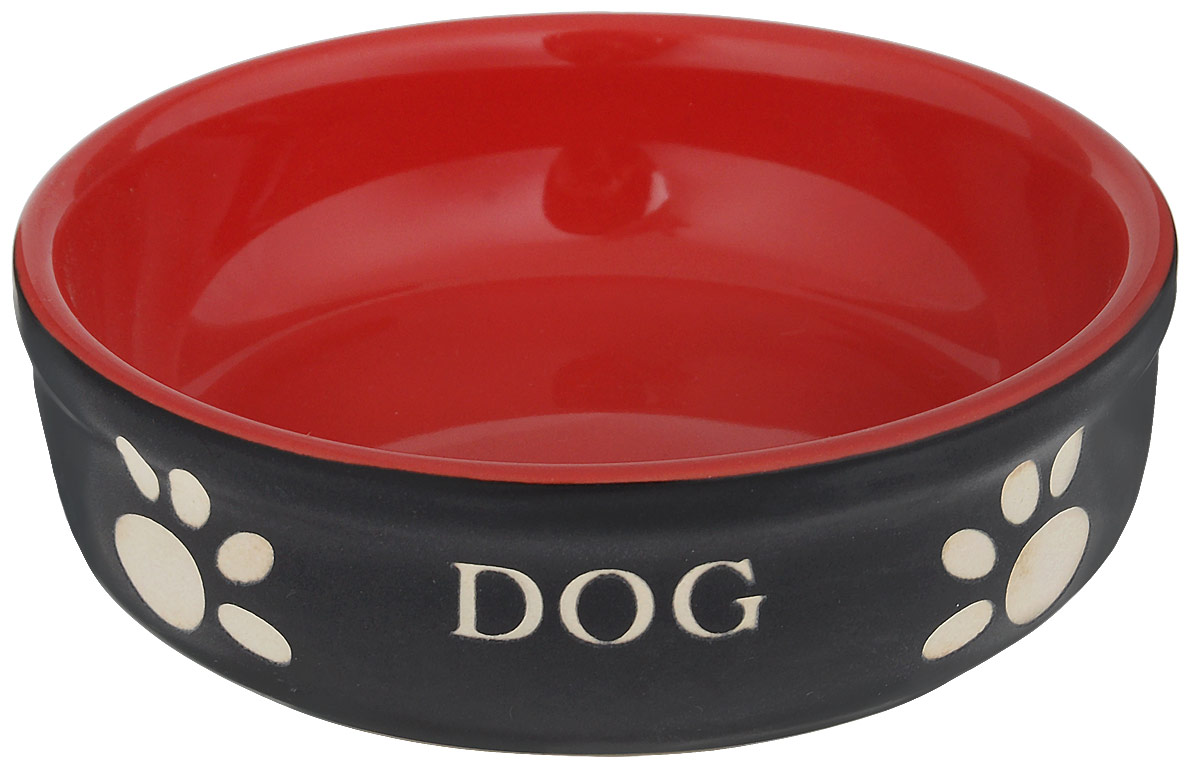 Миска для собак Nobby Dog, цвет: красный, черный, 130 мл12171996Миска для собак Nobby Dog выполнена из керамики, покрытой глазурью. Внешние стенки дополнены рельефными рисунками и надписями. Миска достаточно тяжелая, поэтому не будет скользить по полу. Прекрасно подойдет для собак мелких пород. Диаметр миски: 12 см. Высота миски: 3,5 см.