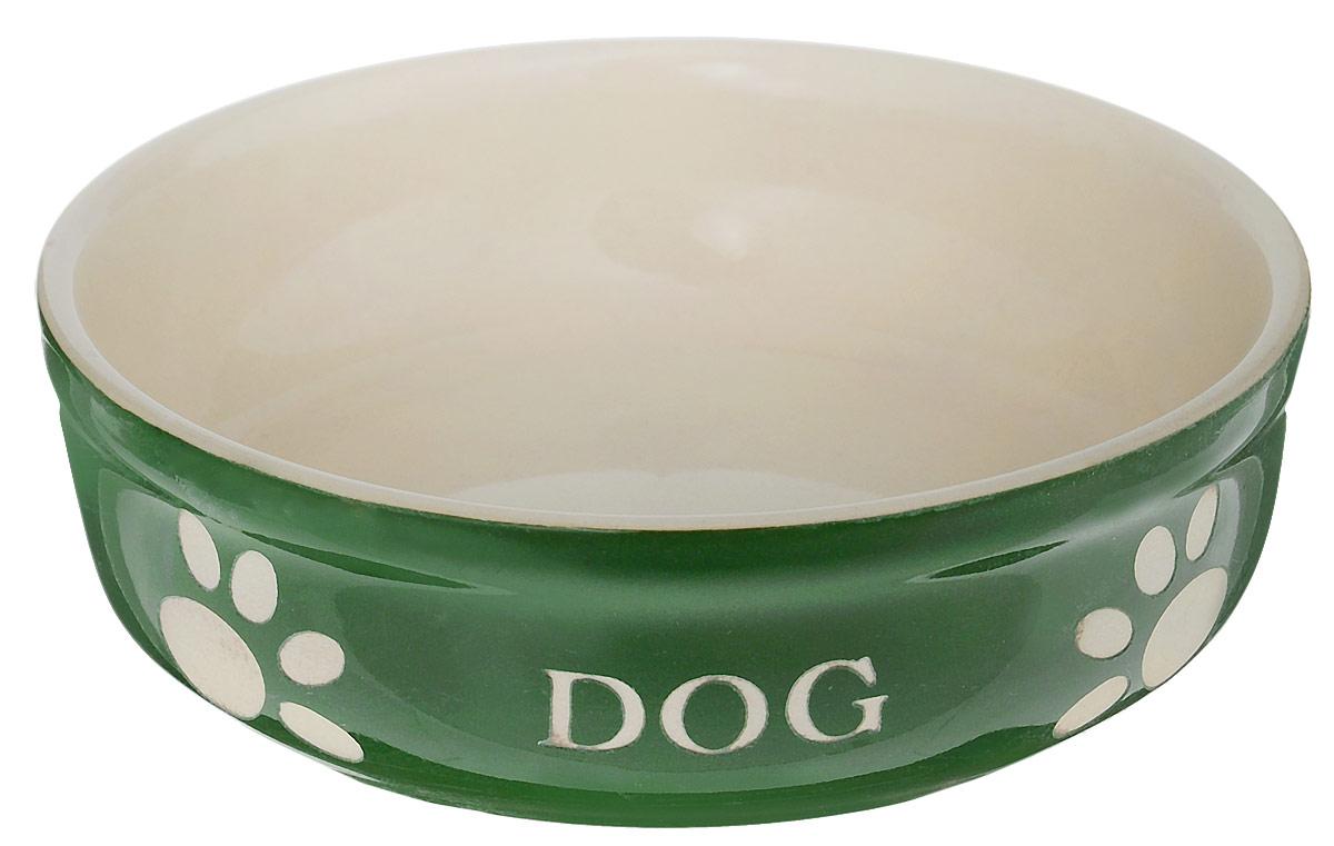 Миска для собак Nobby Dog, цвет: зеленый, светло-бежевый, 130 мл70134Миска для собак Nobby Dog выполнена из керамики, покрытой глазурью. Внешние стенки дополнены рельефными рисунками и надписями. Миска достаточно тяжелая, поэтому не будет скользить по полу. Прекрасно подойдет для собак мелких пород. Диаметр миски: 12 см. Высота миски: 3,5 см.