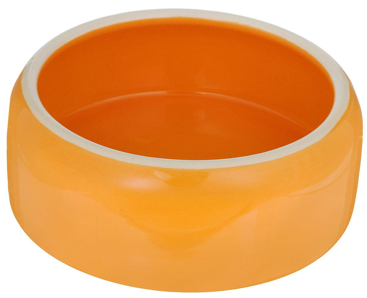 Миска для животных Nobby, цвет: оранжевый, 500 млBOWL33DМиска с выпуклыми стенками Nobby выполнена из керамики, покрытой глазурью. Миска достаточно тяжелая, поэтому не будет скользить по полу. Прекрасно подойдет для собак и кошек. Диаметр миски по верхнему краю: 12 см. Высота миски: 6 см. Диаметр основания: 14 см.