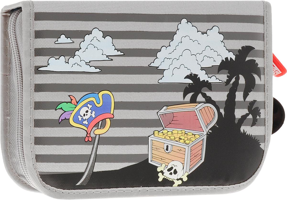 Brunnen Пенал Pirat с наполнением 15 предметов цвет серый72523WDПенал Brunnen Pirat станет не только практичным, но и стильным аксессуаром для любого школьника. Пенал прямоугольной формы выполнен из прочного материала и состоит из одного вместительного отделения, закрывающегося на застежку-молнию. Внутри располагается органайзер для принадлежностей и две откидывающиеся планки с прозрачными пластиковыми кармашками. Наполнение пенала включает в себя 15 предметов: цветные карандаши 9 цветов, фигурную линейку-трафарет, 2 простых карандаша, ластик, линейку и точилку. Пенал оформлен принтом с изображением пиратского острова сокровищ с одной стороны и якорей с другой.Такой пенал станет незаменимым помощником для школьника, с ним ручки и карандаши всегда будут под рукой и больше не потеряются.