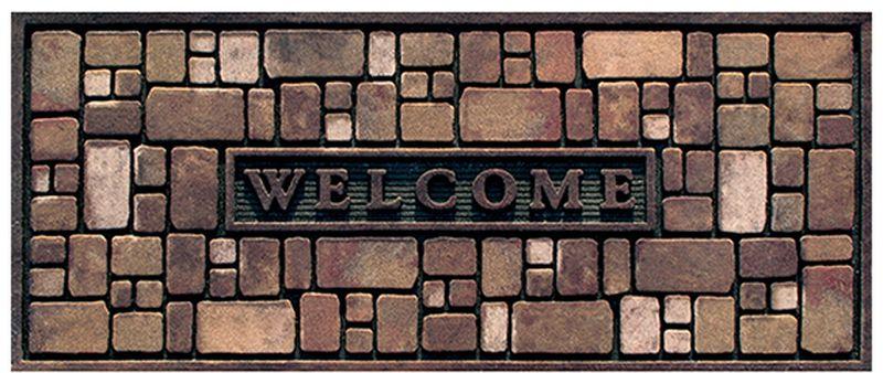 Коврик придверный Apache Mills Rock Wall, 53 х 119 см4772Удивительно красивые натуральные дизайны, представлены в коллекции придверных ковриков APACHE, которые способны перенести Вас с порога вашего дома на мощеные улочки Италии, в сады с дорожками из природного камня или на галичный пляж. Коврики APACHE, кроме неповторимого дизайна, обладают отличными чистящими характеристиками, высокой устойчивостью к загрязнению, высокими водоотталкивающими и гразезащитными свойствами, долговечны, не крошатся и не выцветают. Настоящая находка для тех, кто любит стильные, функциональные и надежные вещи. Коврик может использоваться как перед дверью с уличной стороны, так и внутри помещения, так как основание из переработанной резины не имеет запаха и не пачкает поверхность пола. Материал рабочей поверхности: полиэстер с печатным рисунком высокой четкости. Чистить встряхиванием, возможна чистка пылесосом или под струей воды с применением щедящих моющх средств, сушить на воздухе.